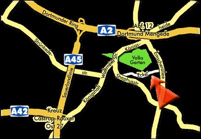 Anfahrtsplan zum Mengeder Gaudium, Volksgarten Dortmund-Mengede